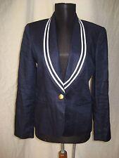 Ralph Lauren 100% Linen Nautical Marine Sailor Navy Blue White Blazer Jacket 4P