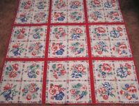 "Vintage Tablecloth Gorgeous Garden Flowers in Squares WOW!  46"" square"