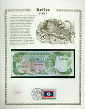 Belize Banknote 1 Dollar 1987 P 46c UNC  w/FDI UN FDI FLAG STAMP Prefix A/11