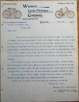 Bicycle 1897 Letterhead: Western Cycle Fittings Co. - Chicago, IL