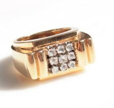 BAGUE TANK  EN OR 18 cts 9 DIAMANTS 9,4 g BIJOU ANCIEN T 51 ART DECO