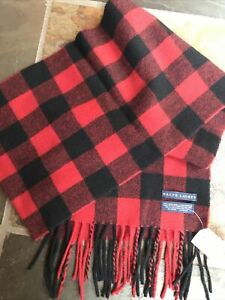 Ralph Lauren NWT Made In Italy 100% Lambs Wool Buffalo Check Scarf Fringed