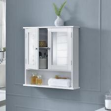 en.casa Badezimmerschrank Badschrank Wandschrank Schrank Spiegel weiß 58x56x13cm