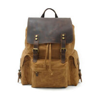 vintage Men Canvas Backpack Leather Shoulder bag Outdoor Travel Camping Backpack