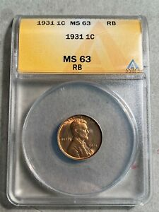 1931 Lincoln Cent ANACS MS 63 RB
