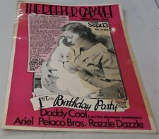 """""""THE REEFER CABARET"""" LAMINATED VINTAGE POSTER  1975 1st & LAST BIRTHDAY PARTY"""