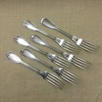Antique Christofle Cutlery Chinon Large Table Forks Set of 6 French Silver Plate