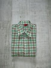 LEVI'S Ladies SHORT Sleeved Shirt Size LARGE Checked GREEN New Without TAGS