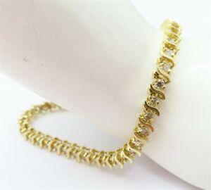 "14K Yellow Gold ~1 1/3CTW Diamond S Link Tennis Bracelet 7.25"""