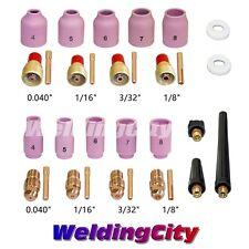 """TIG Welding Regular & Gas Lens Kit 0.040""""~1/8"""" for Torch 9/20/25 T24 (US Seller)"""