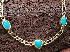 Turquoise Heart 14k Yellow Gold Link Bracelet Estate Jewelry 3.4 gm