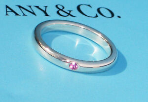 Tiffany & Co Sterling Silver Ring Pink Sapphire Elsa Peretti STACKING Band ring