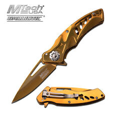 "7.25"" GOLD MTECH SPRING ASSISTED FOLDING KNIFE Blade pocket open switch"