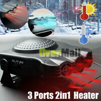 200W 3 Ports 2in1 12V Portable Car Heater Cooling Fan Heater Defroster Demister