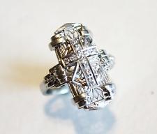 Antique Art Deco 18K White Gold Filigree Diamond Cross Ring Size 5