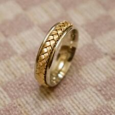 Men'S New Benchmark 14K Two-Tone Gold Woven Wedding Band (size 10)