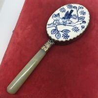 Antique Chinese Metal & Jade Floral Mirror with Jade Handle Vintage Box bird