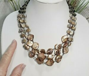 Vintage Brown MOP Nugget and Wood Bead Multi Strand Choker Necklace