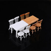 1:12 Wooden Kitchen Dining Table With 4 Chairs Set  Dollhouse Furniture Fy