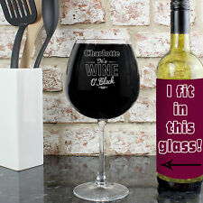 Personalised Wine O'Clock Bottle of Wine Glass Gifts For Women 18th 21st 40th