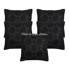 Black Embroidered Ethnic Pillow Cover Mirrored Sofa Cushion Cover Indian Cotton