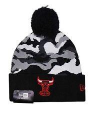 NBA Chicago Bulls New Era Black Camo Top 2 Knit Hat Beanie Cap Toque Pom Pom
