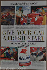 1941 MOBIL advertisement, Mobiloil, SOCONY, car care, oil change, oil tin