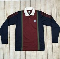 Adidas Skateboarding Climalite Polo Rugby Jersey Navy Red LS Shirt Sz Small NWT