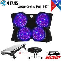 "Laptop Cooling Pad 12""-17"" Cooler Pad Chill Mat 4 Quiet Fans LED Light Dual USB"