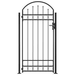 vidaXL Cancello Recinzione ad Arco con 2 Pali 100x200cm Nero Ingresso Pedonale