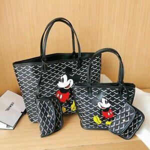 2PCS Disney Mickey Mouse Women Handbag Shoulder Lady Tote Bag +Mini Cosmetic Bag