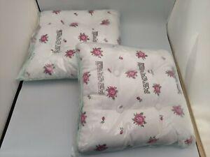 Pair Royal Albert Fabric Tie-On Seat Pads Floral/Polka Dot BNWT #SH