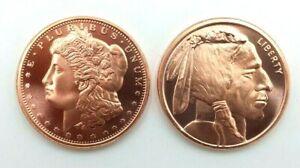 Moneda 1 Oz Cobre 999 40 Mm Indio Búfalo Y Morgan Pack Inversión