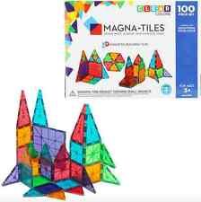 Magna-Tiles 100 Piece Clear Colors Set Magnatiles Valtech 100% Authentic NIB