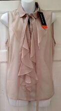 BNWT KAREN MILLEN SLEEVELESS BOW NECK BLOUSE/SHIRT SIZE 14 NEUTRAL.