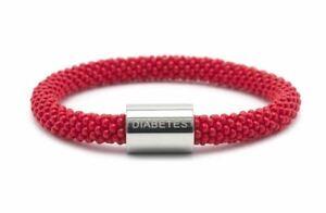 "Sashka DIABETES Word Bracelet 8"" EXTENDED Red Glass Beads Silver Charm + Wrap"