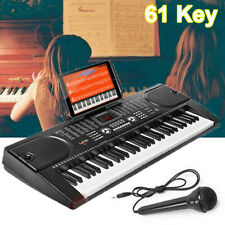 61 Key Music Electronic Keyboard Electric Digital Piano Organ w/ Stand & Mic