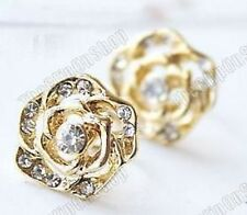 COMFY U CLIP ON gold ROSE CRYSTAL studs STUD EARRINGS