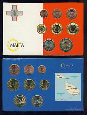 MALTA Euro Coins of Malta 2008 UNC Complete RRR set of 8 values (1 c to 2 euros)
