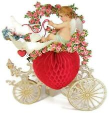 "Huge 11"" Antique Fold Out Honeycomb VALENTINE Card w Cupid & Doves Pulling Wagon"