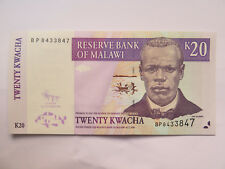 RESERVE BANK of MALAWI 20 KWACHA BANK NOTE EXCELLENT Near UNCIRCULATED COND 2009