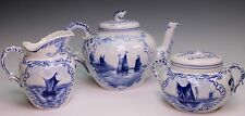 Rauenstein 19th Century German Blue White Ships Delft Tea Pot Sugar Bowl Creamer