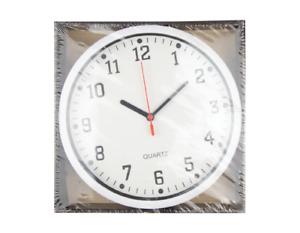 Large 22.5cm Wall Clock. Black, White, Silver. Quartz Home School Office Bedroom