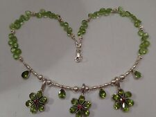 NEW UNIQUE DESIGN HAND MADE NATURAL FACETED  PERIDOT STERLING SILVER NECKLACE