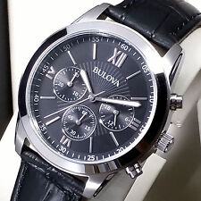 BULOVA Orologio Cronografo Nero Pelle Uomo Mov Miyota JS20 NUOVO New men's Watch
