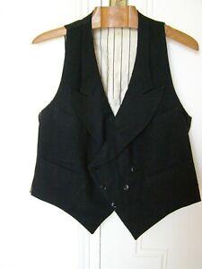 GILET homme croisé à revers en lainage noir authentique VINTAGE années 1940/1950