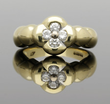 VINTAGE 18CT YELLOW GOLD QUATERFOIL DIAMOND CLUSTER RING - 1999