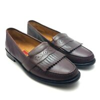 Cole Haan City Loafers Mens Leather Kiltie Slip On Burgundy Dress Shoes Sz 9.5 M