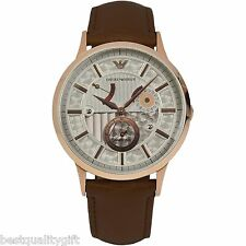 NEW-EMPORIO ARMANI BROWN LEATHER+ROSE GOLD AUTOMATIC MECCANICO WATCH-AR4667