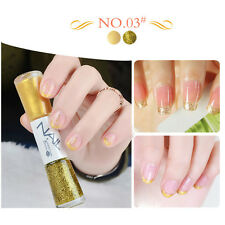 1Pc Dual-ended 14ml Liner Nail Polish Pen Yellow And Gold Liner Pen Varnish #03